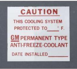 Camaro Dealer Installed Anti-Freeze Decal, 1967-1972