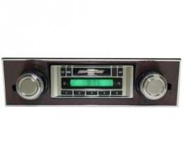 Camaro AM/FM Stereo Radio, USA-230, With Walnut Bezel, Custom Autosound, 1967-1968