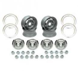 Camaro Rally Wheel Kit, 15 x 8, Complete, For Cars Without Disc Brakes, 1967