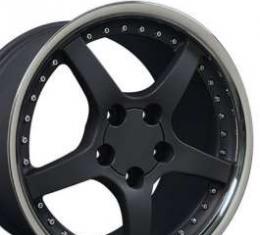 Camaro 17 X 9.5 C5 Style Deep Dish Reproduction Wheel, Matte Black With Rivets, 1993-2002