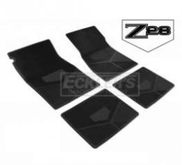 Camaro Rubber Floor Mats, With Z28 Emblem, Black, 1977-1978