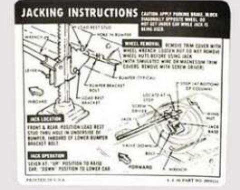 Camaro Jacking Instructions Decal, Trunk, Coupe, 1967 & Z28, 1968