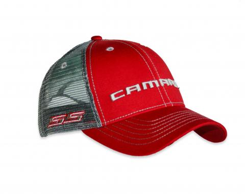 Camaro Red Structured Trucker Cap with Snapback Closure