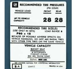 Camaro Tire Pressure Decal, 1973-1974