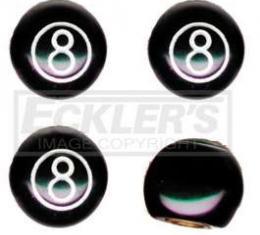 Camaro Valve Stem Caps, 8 Ball, Black, 1967-2014