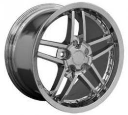 Camaro C6 Z06 Deep Dish Wheel, 18 x 8.5, Chrome With Rivets, 1993-2002