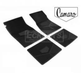 Camaro Rubber Floor Mats, With Vintage Logo, Camaro Script, Black, 1970-1974