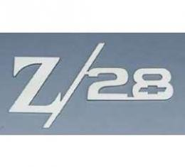 Camaro Taillight Panel Emblem, Z28 With Bowtie, Stainless Steel, 1967-1969