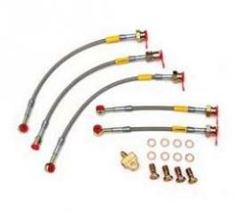 Camaro Braided Disc Brake Hose Kit, Stainless Steel, With Rear Disc & Without Traction Control, Goodridge, 1993-1997