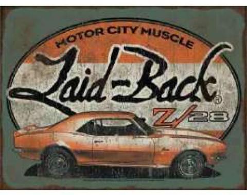 Laid Back Halfway Camaro Z28 Tin Sign 12 X 16