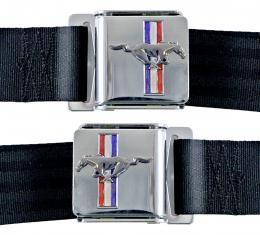 Scott Drake Seat Belt Set with Mustang Emblem (Dark Red, Pair) SB-DR-H