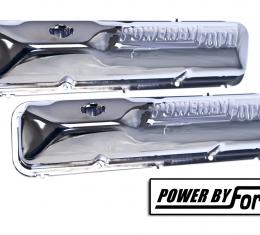 """Scott Drake 390/428 Chrome""""Powered by Ford"""" valve covers C6OZ-6A582-C"""