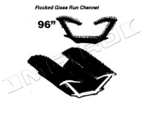 "Flocked Glass Run Channel, for Models with Framed Side Glass, 96"" Piece, 1965-1967"