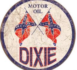 Tin Sign, Dixie Gas - Weathered Round