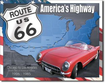 Tin Sign, Route 66 - 1926 to 1985