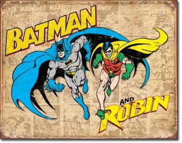 Tin Sign, Batman and Robin Weathered