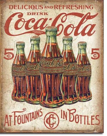 Tin Sign, COKE - 5 Bottles Retro