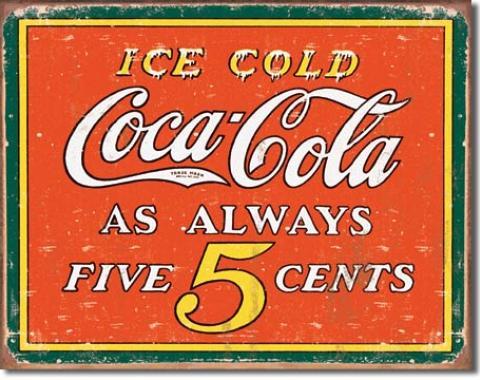 Tin Sign, COKE - Always 5 Cents