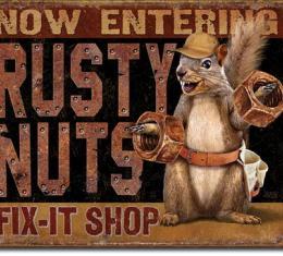 Tin Sign, Rusty Nuts Fix It Shop