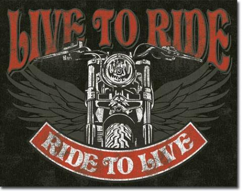 Tin Sign, Live to Ride - Bike