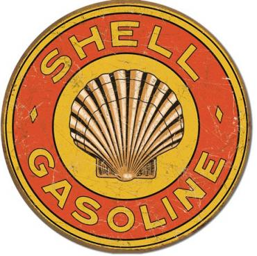 Tin Sign, Shell Gasoline 1920's Round