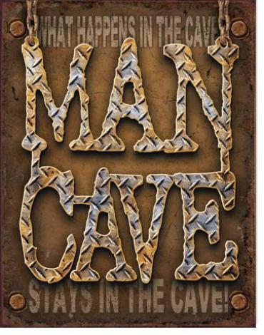 Tin Sign, Man Cave - Diamond Plate