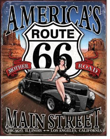 Tin Sign, RT 66 - America's Main Street