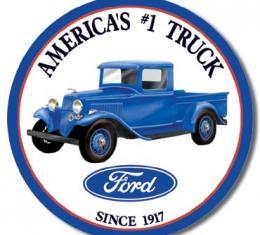 Tin Sign, Ford Trucks - Round