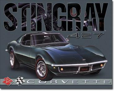 Tin Sign, Corvette - 1968 Stingray
