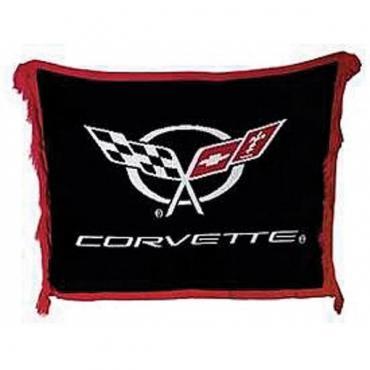 Corvette Woven Throw Blanket With C5 Logo