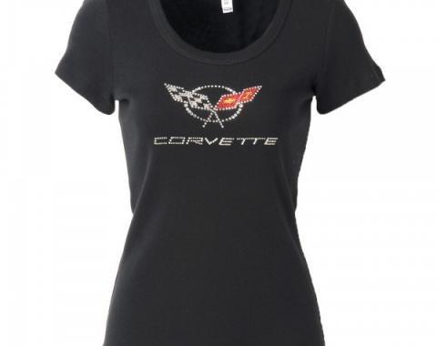 Corvette C5 Corvette Logo Rhinestone Ladies Tee Shirt, Black