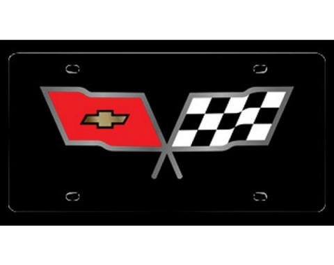 Corvette License Plate, Acrylic, With C3 Crossed-Flags Logo, 1968-1982