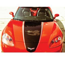 Corvette Hood Decal Package, Convertible, Black With SilverAccent, Racing Stripe, 2005-2013