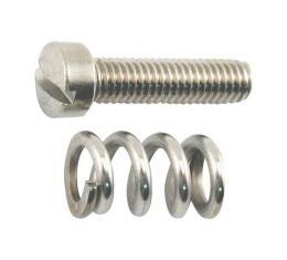 Throttle Adjusting Screw & Spring - Stromberg - Stainless Steel - Ford 1933-38 90 HP & 1937-38 60 HP