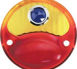 Model A Ford Tail Light Lens - Glass - Half Amber - Blue Dot