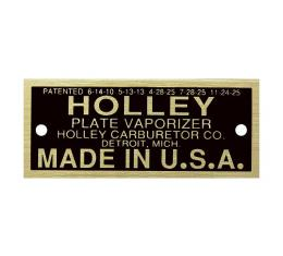 Model T Carburetor Data Plate, Holley Vaporizer, Brass Finish, 1926-1927