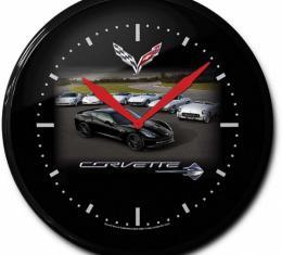 Corvette Clock, C7 Car With C1-C6 Models, 14-Inch