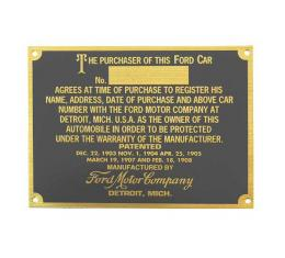 Model T Ford Serial & Patent Plate - Brass Finish