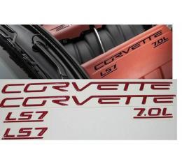 Corvette C6 LS7 Fuel Rail Letter Kit, 2006-2013   Magnetic Red/Monterey Red