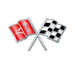 Corvette C2 Cross Flag Vintage Metal Sign, 28x16