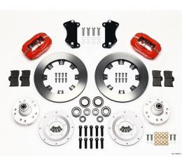 """Chevy Wilwood Front Disc Brake Kit, Drop Spindle, Red Powder Coat Caliper, Plain Face Rotor,12.19"""", Forged Dynalite Big Brake Series 55-57"""