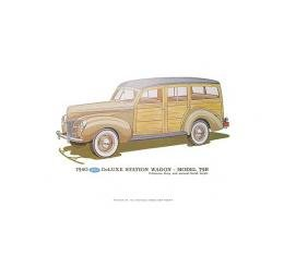 Print - 1940 Ford Deluxe Station Wagon (79B) - 12 X 18 - Unframed