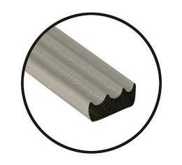 Rubber Hood Lacing - Solid Rubber - Ribbed Surface - Adhesive Back - 3/8 Wide X 3/16 Thick X 8' Length - Ford & Mercury