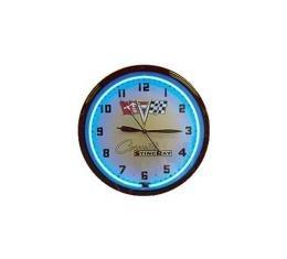 Corvette Blue Neon Wall Clock With Stingray Logo