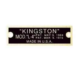 Model T Carburetor Data Plate, Kingston L4, Brass Finish, 1919-1926