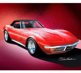 Corvette Fine Art Print By Danny Whitfield, 14x18, StingrayConvertible, Monza Red, 1972