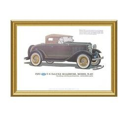 Print - 1932 Ford Deluxe Roadster (B40) - Framed
