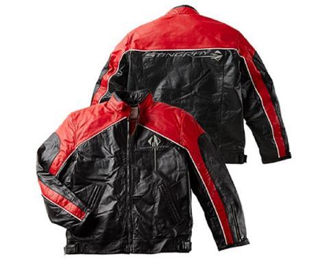 Corvette Lambskin Bomber Jacket, Red & Black With C7 Stingray Logo