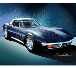 Corvette Fine Art Print By Danny Whitfield, 14x18, StingrayCoupe, Bryar Blue, 1972
