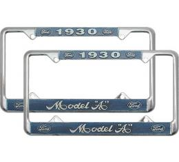 Model A Ford License Plate Frames - White Lettering With Blue Background - Model A Ford 1930